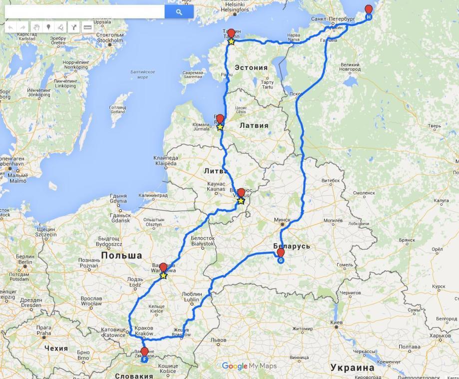 Маршрут по Европе на машине новый год
