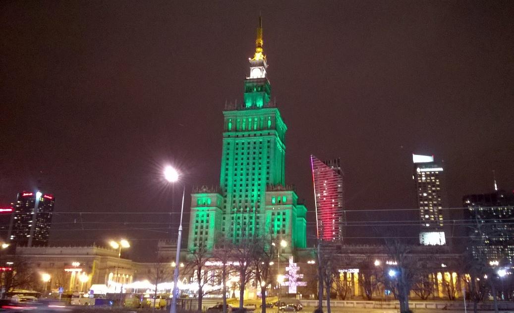 Варшава дворец культуры и науки ночью